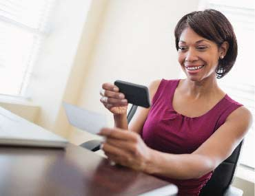 Woman, Smart Phone, Banking, Remote Deposit